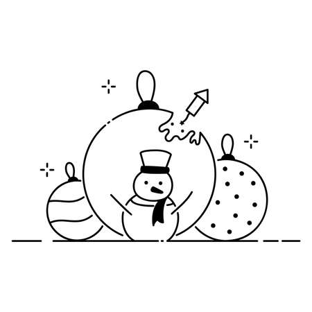 Merry Christmas funny illustration, Christmas composition in cartoon style. Snowman and big Christmas balls flat icon. Vettoriali
