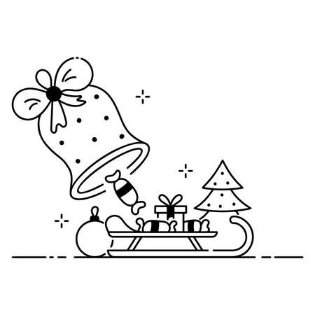 Merry Christmas funny illustration, Christmas scene in cartoon style, bell and candy rain flat icon.