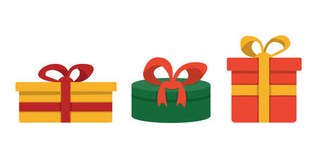 Gift boxes with bows cartoon illustration isolated on white background. Christmas gift wrapping decorations.