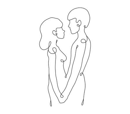 Man and woman holding hands line art. Male and female silhouette sensual artwork. He and she is minimalist design.