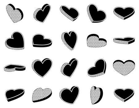 Set of isometric heart symbols retro illustration isolated on white background