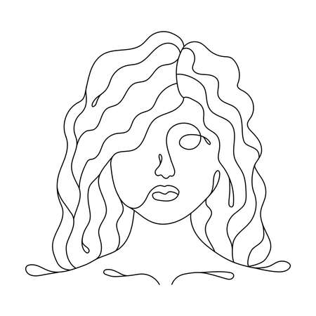 Beautiful girl with curly hair line art. Cute female face trendy design. Female face abstract design isolated on white background Vettoriali