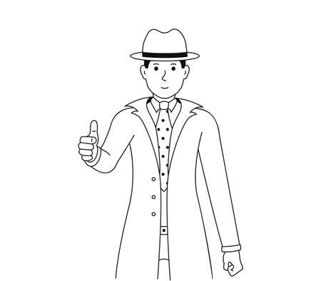 Man shows thumbs up, vector illustration of a guy in a good mood showing a gesture of approval or okay