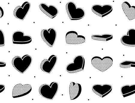 Hearts symbol seamless pattern. Geometric seamless pattern can be used for textiles. Vintage heart design template.