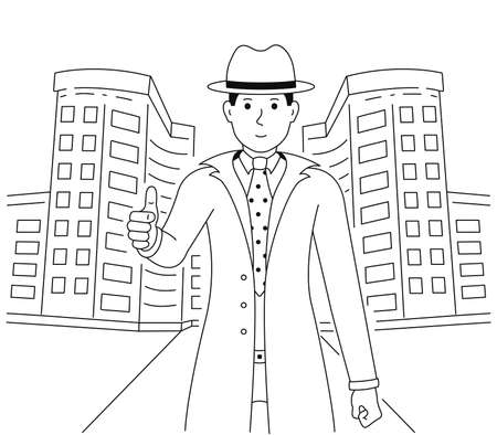 Realtor shows thumbs up. A man in a good mood shows a gesture of approval or okay. A guy dressed in a suit and a hat is standing near the building vector illustration isolated on white background