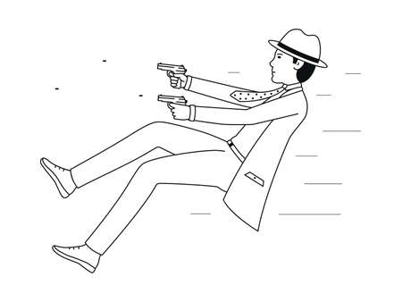 An undercover agent fires pistols. Dangerous detective task, Shootout vector illustration isolated on a white background.