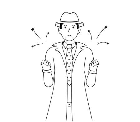 Happy detective shows a gesture of victory. A man feels happy or a winner. Successful and lucky guy vector illustration.