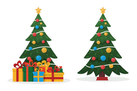 Decorated Christmas tree and gifts. Merry Christmas and Happy New Year flat vector illustration isolated on white background.