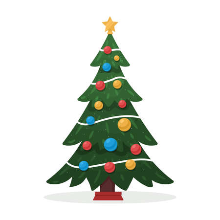 Decorated Christmas tree. Merry Christmas and Happy New Year flat vector illustration isolated on white background.