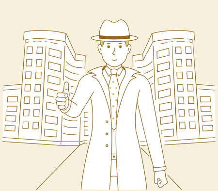 Vector illustration of a man showing the thumbs up on the background of an architectural building. Men detective and city cartoon art