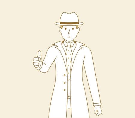 Man shows thumbs up, vector illustration of a guy in a good mood showing a gesture of approval or okay. Men detective cartoon art