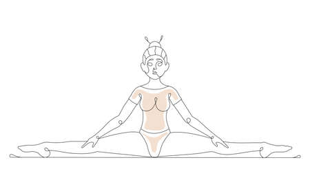 Girl sit on the cross twine line art. Vector illustration of a woman doing gymnastics isolated on white background