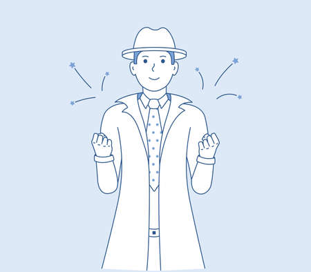 Happy man in hat shows victory gesture. A man feels happy or a winner. Successful and lucky guy vector illustration. Men detective cartoon art
