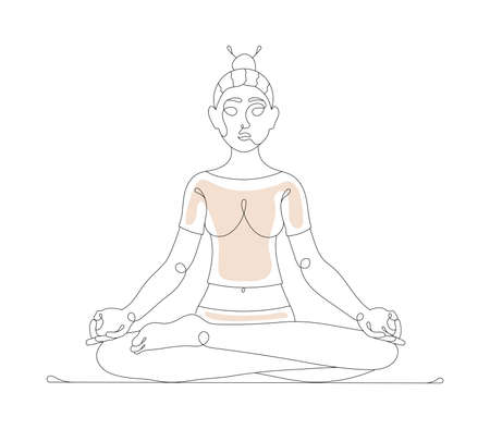 Girl sitting in lotus position line art. Vector illustration of a woman doing yoga isolated on white background.