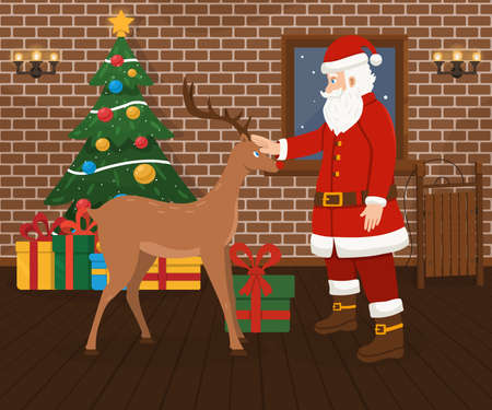 Santa Claus and Christmas deer, decorated Christmas tree and gifts. Merry Christmas and happy new year vector illustration.