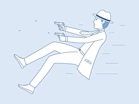A dangerous mission of an undercover agent. Vector illustration of a man shooting with pistols. Men detective cartoon art