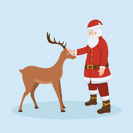 Santa Claus and reindeer. Merry Christmas and happy new year vector illustration. Vettoriali
