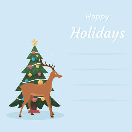 Happy Holidays postcard. Vector illustration of a reindeer and a decorated Christmas tree isolated on a blue background.