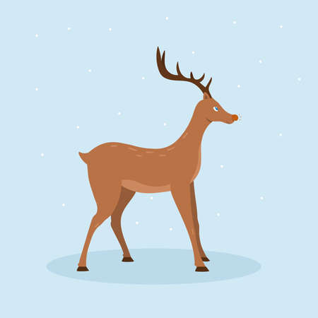 Reindeer holiday card. Vector illustration of Christmas deer isolated on blue background. Vettoriali