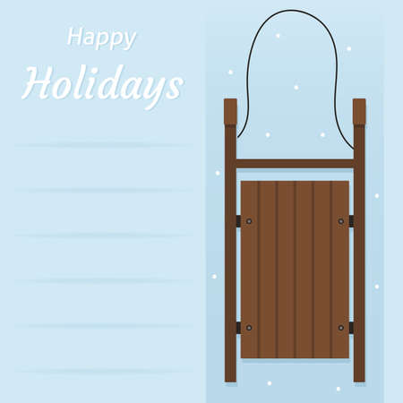 Happy Holidays postcard. Vector illustration of a wooden sled isolated on a blue background.