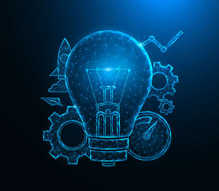 Light bulb low poly art. Light bulb idea, gears, speedometer, rocket and analytics polygonal vector illustrations on a blue background.