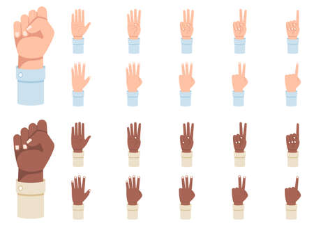 Finger counting. A set of hands with counts on the fingers from one to five vector illustration. Vektoros illusztráció