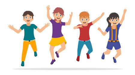 Happy kids jumping, boys and girls have fun, characters in cartoon style. Vector illustration