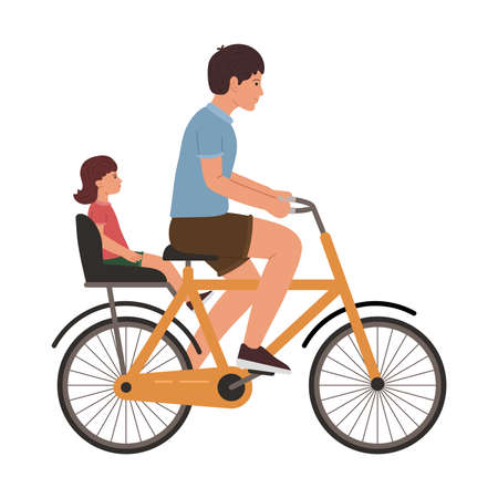 Father and daughter riding a bike together vector illustration isolated on white background