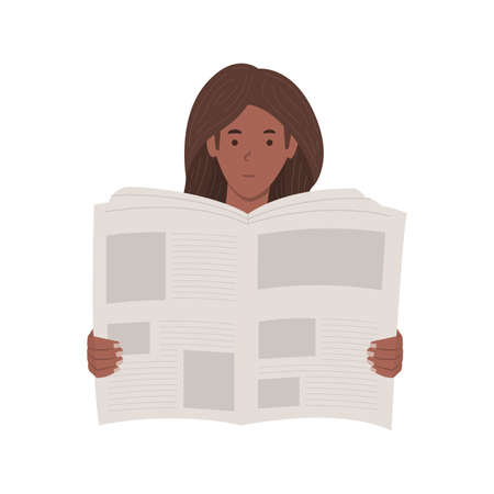 Young African American woman reading a newspaper vector illustration isolated on white background