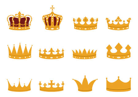 Set of gold crowns in a flat style. Imperial, royal, princely, monarchical, ducal and county crowns.