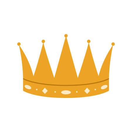 Vector illustration of a golden royal crown with gems on a white background.