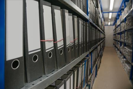 archive, racks, regiments, folders, documents, long corridor