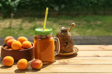 apricot smoothies with honey Stock Photo