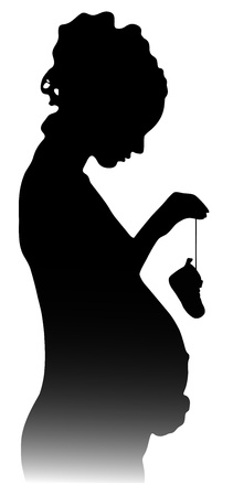 silhouette of a pregnant girl with shoes Vector