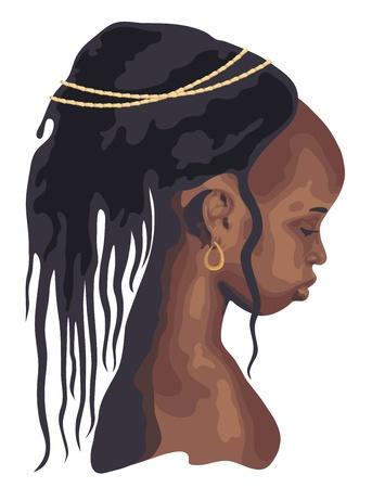 cabello casta�o claro: silueta �frica mujer