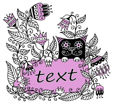Floral illustration with a pink frame for text and a cat Stock Vector - 18826545