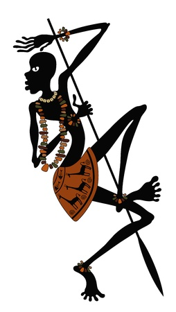 African warrior with spear in dance Vector