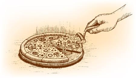 Pizza met de hand getekend Vector Illustratie
