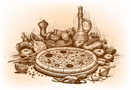 伝統: 手で描いたピザ イラスト  イラスト・ベクター素材