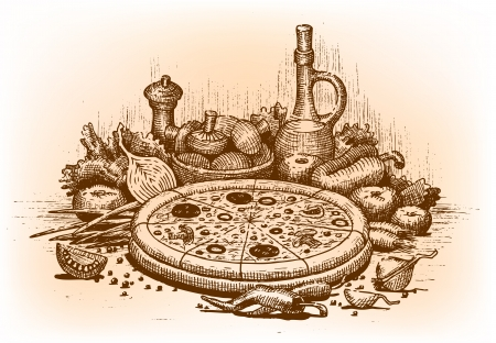Pizza illustration drawn by hand Vector