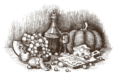 decanter: Still life with fruit, cheese, and wine drawing by hand