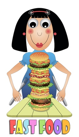Girl eating hamburger Vector