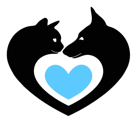 silhouette chat: chat et le chien dans le c?ur