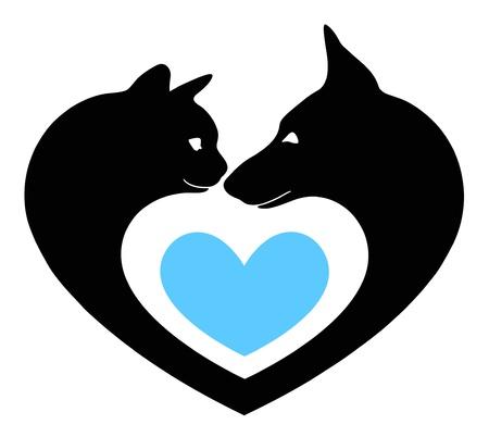 silueta gato: gato y perro en el coraz�n Vectores