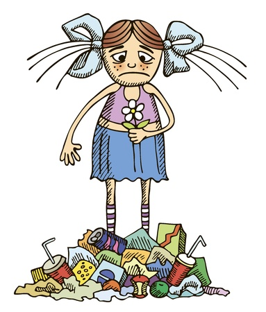 litter: girl in a polluted environment Illustration