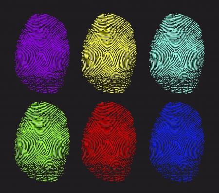 colored fingerprints Vector