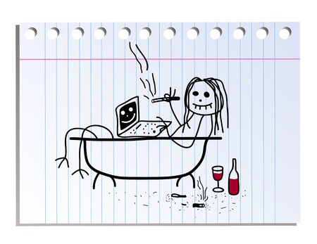 smoking a cigarette: funny picture on the notebook sheet in line