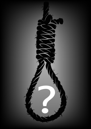 strangulation: Old rope with hangmans noose with question