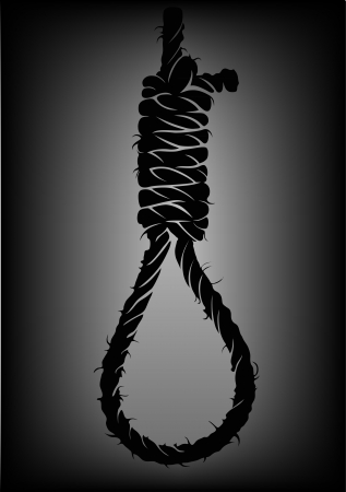 hung: old rope with hangmans noose Illustration