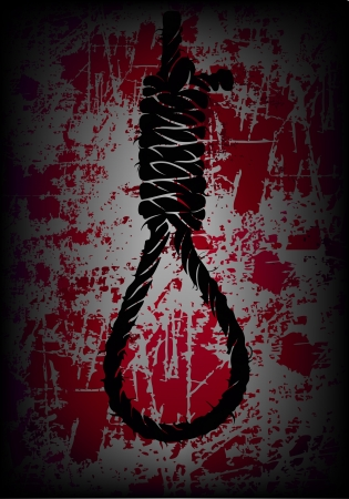 execution: old rope with hangmans noose on the shabby background